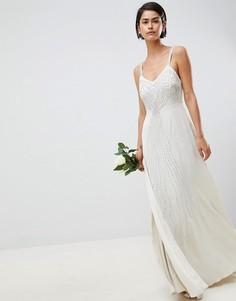 Платье на бретельках с декоративной отделкой ASOS EDITION - Кремовый