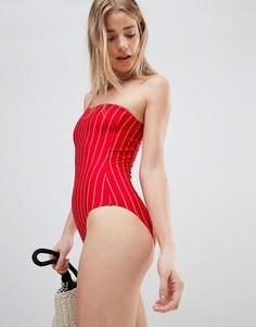 Слитный купальник в полоску на одно плечо Pistol Panties - Красный