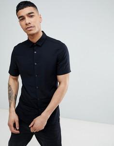 Черная приталенная рубашка из вискозы с короткими рукавами ASOS DESIGN - Черный