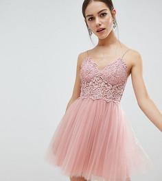 Ажурное платье мини из тюля на бретельках ASOS DESIGN Petite - Розовый