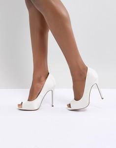 Туфли на высоком каблуке с открытым носком ASOS DESIGN Praise - Кремовый