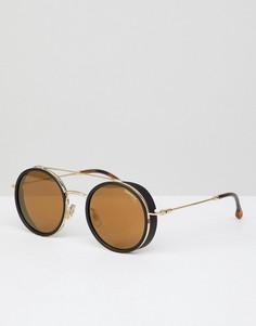 Круглые солнцезащитные очки в золотистой оправе Carrera - Золотой