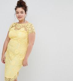 Платье-футляр с вязаным кружевом и короткими рукавами Paper Dolls Plus - Желтый