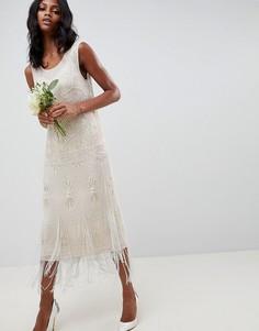 Платье миди с декоративной отделкой ASOS EDITION - Бежевый
