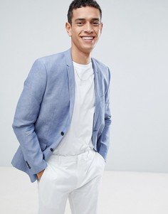 Льняной блейзер узкого кроя Jack & Jones Premium - Синий