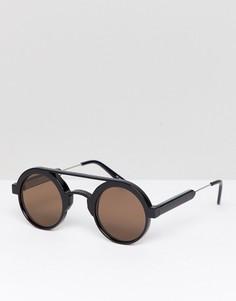 Черные круглые солнцезащитные очки с коричневыми стеклами Spitfire - Черный
