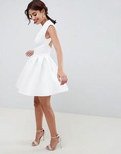 Платье мини для выпускного с открытой спиной ASOS DESIGN - Белый