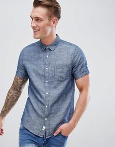 Темно-синяя льняная рубашка классического кроя Burton Menswear - Фиолетовый