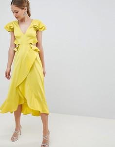 Атласное платье миди с оборками и вырезом на спине ASOS DESIGN - Желтый
