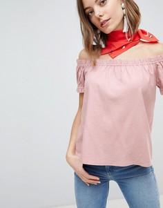 Топ с открытыми плечами Vero Moda - Розовый