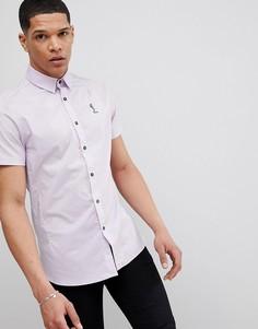Светло-фиолетовая рубашка скинни с короткими рукавами Religion - Фиолетовый