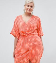 Платье в горошек Missguided Plus - Розовый
