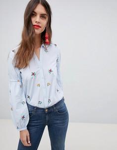 Рубашка в полоску с цветочной вышивкой Esprit - Мульти