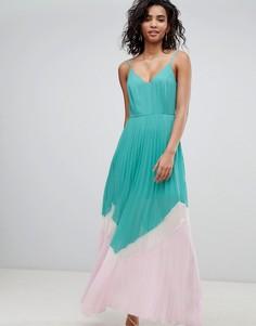 Плиссированное платье макси в стиле колор блок ASOS DESIGN - Мульти