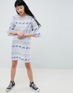 Платье с принтом и оборками Daisy Street - Синий