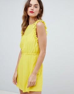 Платье мини с рюшами на рукавах Sisley - Желтый