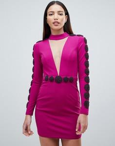 Декорированное платье мини с глубоким вырезом Forever Unique - Фиолетовый