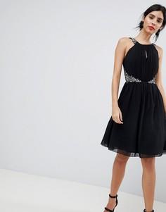 Платье для выпускного с вырезом капелькой и отделкой камнями Little Mistress - Черный