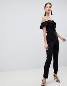 Комбинезон в строгом стиле с открытыми плечами AX Paris - Черный