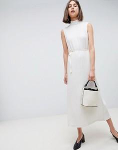 Плиссированное платье с поясом ASOS WHITE - Кремовый