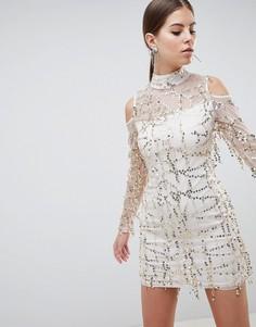 Платье с длинными рукавами и декоративной отделкой AX Paris - Розовый