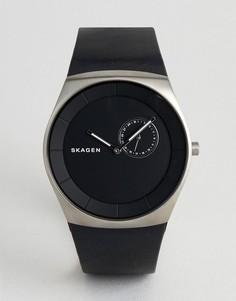 Мужские часы с кожаным ремешком Skagen - Черный