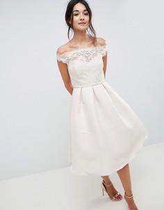 Платье миди с открытыми плечами и кружевным верхом Little Mistress - Кремовый