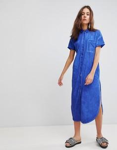 Платье-рубашка миди из шамбре Glamorous - Синий