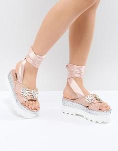 Розовые сандалии с блестками Lost Ink - Розовый