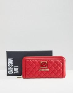 Стеганый кошелек Love Moschino - Красный