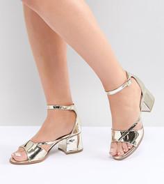 Золотистые босоножки на каблуке для широкой стопы Lost Ink - Золотой