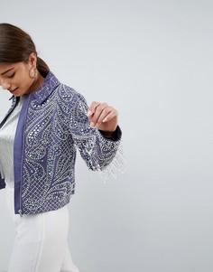Куртка с жемчужной отделкой и бахромой ASOS DESIGN - Серый