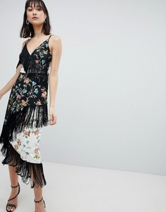 Платье миди на бретельках с бахромой и цветочным принтом ASOS DESIGN - Мульти