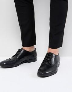 Черные кожаные броги H By Hudson Aylesbury - Черный