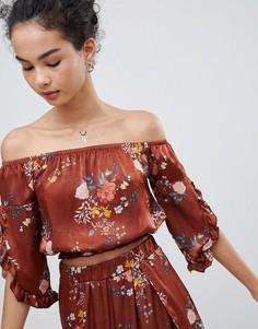 Топ с открытыми плечами и цветочным принтом Gilli - Красный