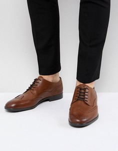 Светло-коричневые кожаные броги H By Hudson Aylesbury - Рыжий