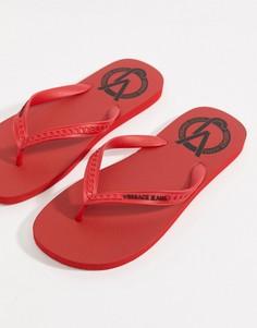 Красные шлепанцы с логотипом Versace Jeans - Красный