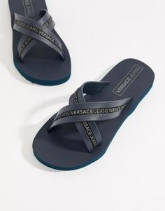 Темно-синие шлепанцы с логотипом Armani Jeans - Темно-синий