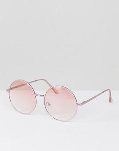Круглые солнцезащитные очки в металлической оправе с розовыми стеклами Jeepers Peepers - Золотой