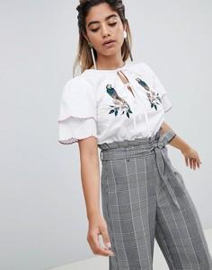 Блузка с вышивкой попугая Fashion Union - Белый