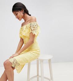 Кружевное платье-футляр с оборками и вырезом лодочкой Paper Dolls Tall - Желтый