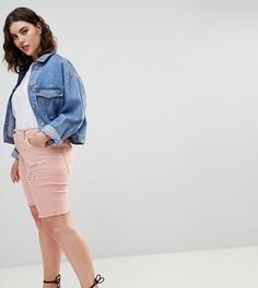Джинсовые шорты с необработанным краем Zizzi - Розовый