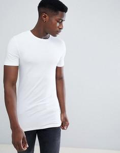 Белая длинная обтягивающая футболка с круглым вырезом ASOS DESIGN - Белый