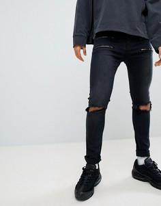 Черные джинсы скинни с двойными молниями Liquor N Poker - Черный