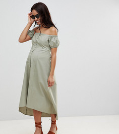 Платье миди на пуговицах с открытыми плечами ASOS DESIGN Maternity - Зеленый