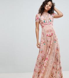 Платье макси с вышивкой Frock And Frill Tall - Кремовый