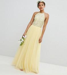 Платье макси из тюля с пайетками Maya Tall - Желтый