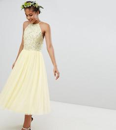 Утонченное платье миди с пайетками и тюлевой отделкой Maya Tall - Желтый