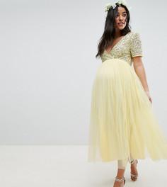 Платье миди из тюля с короткими рукавами и пайетками Maya Maternity - Желтый