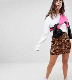 Мини-юбка с завышенной талией и леопардовым принтом Daisy Street - Коричневый
